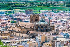 View on the Granada Catedral from the old city of La Alhambra royalty free stock photo