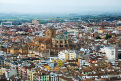 View of  Granada with Cathedral Royalty Free Stock Photos