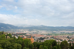 View on Granada city from Alhambra Stock Image