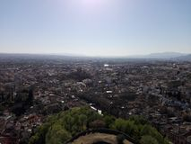 View Granada. Views from the wall of the Alhambra towards Granada .Spain Andalucía Royalty Free Stock Photos