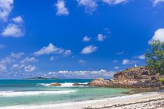 Pointe Ste Marie, Seychelles. A view from a from Grand Anse beach on Pointe Ste Marie viewpoint on Praslin island, Seychelles Royalty Free Stock Image