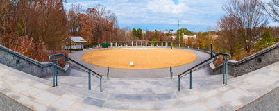 View of Grand Arbor from stairs in Piedmont Park, Atlanta, USA. Panoramic view of oval lawn and Grand Arbor from stairs in the Piedmont Park in autumn day Stock Photos