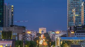 View from Grand Arch in Defense business district to the Arc de Triumph day to night timelapse, Paris, France. View from Grand Arch in Defense business district stock footage