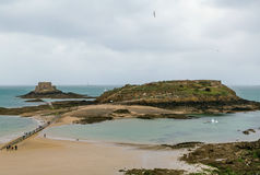 View of Grand Be islan, Saint-Malo, France. View of Petit Be fort and Grand Be island from Saint-Malo walls, France stock image