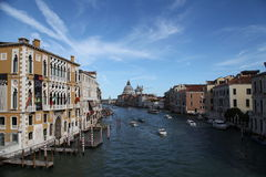 View of the Grand Canal. In Venice from the Rialto bridge Stock Photos