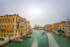 View of Grand Canal from Academy Bridge of Venice Venezia Italy. A Long Exposure photo. royalty free stock photo