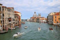 View of Grand Canal and Basilica di Santa Maria della Salute in stock images