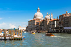 View of Grand Canal with Basilica of Santa Maria della Salute. Royalty Free Stock Photo