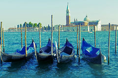 View of Grand Canal with gondolas and San Giorgio Maggiore Stock Image