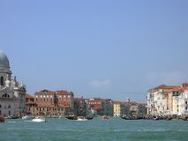 View of the Grand canal, pleasure boats stock images