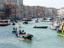 View of the Grand Canal with the Rialto bridge in Venice Royalty Free Stock Images