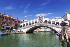 View of the Grand canal and the Rialto bridge. Venice Stock Image
