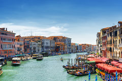 View of the Grand Canal from the Rialto Bridge in Venice, Italy Royalty Free Stock Photography