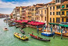 View of the Grand Canal from the Rialto Bridge Stock Image