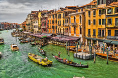 View of the Grand Canal from the Rialto Bridge Stock Images