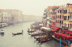 View of the Grand Canal from the Rialto Bridge.VENICE, ITALY. See the gondola and local restaurants in Venice on February 21, 2017. VENICE, ITALY/EUROPE Royalty Free Stock Image
