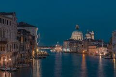 Grand Canal and Santa Maria della Salute in Venice, Italy at night royalty free stock image