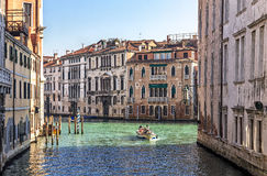 View of Grand Canal with traditional houses. Venice, Italy - february 11, 2015: view of Grand Canal with traditional houses and boats stock photo