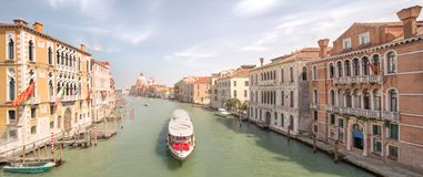 View of the grand canal with vaporetto and boats Royalty Free Stock Image