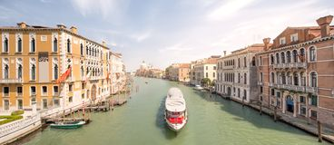 View of the grand canal with vaporetto and boats Stock Photo