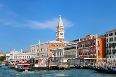 View of Grand Canal with vaporetto water bus stop in front of Royalty Free Stock Photo
