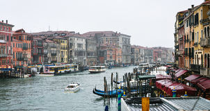 View of Grand Canal in Venice city in rain Royalty Free Stock Images