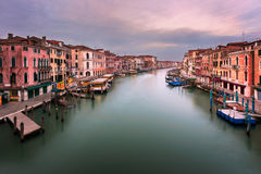 View of Grand Canal and Venice Skyline from the Rialto Bridge in Royalty Free Stock Photo