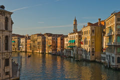 View of Grand Canale. Sunset view of Grand Canale in Venice from Rialto Bridge royalty free stock photo