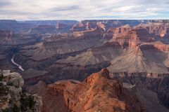 View of Grand Canyon National Park from Mohave Point above the Colorado River. royalty free stock photos
