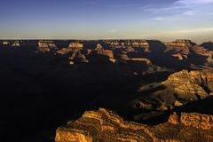 View of the Grand Canyon at sunset - horizontal stock image