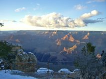 View on the Grand Canyon. With a fence in the front stock image