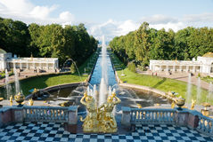 View of grand cascade and canal in Peterhof Royalty Free Stock Photos