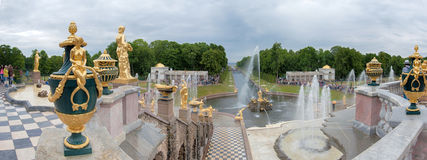 View of The Grand Cascade fountain and Grand Palace in Petergof Stock Photo