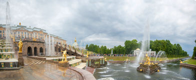 view of The Grand Cascade fountain and Grand Palace in Petergof Stock Images