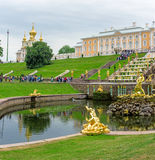 View of The Grand Cascade fountain and Grand Palace in Petergof Stock Image
