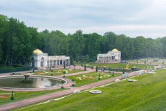 View of The Grand Cascade fountain in Peterhof Royalty Free Stock Image