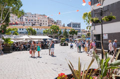View of Grand Casemates Square in Gibraltar. GIBRALTAR - AUGUST 27, 2014: View of Grand Casemates Square. The square is lined with numerous pubs, bars and Royalty Free Stock Photos