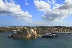 View of the Grand harbor and Fort Saint Angelo Royalty Free Stock Photos