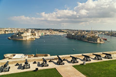 View on Grand harbour. From Saluting Battery. Valetta. Malta Royalty Free Stock Photography