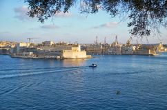 The view of the Grand Harbour Port of Valletta.  Malta. The view of the Grand Harbour Port of Valletta with the «three cities»  three fortified cities of Stock Photos