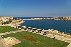View on Grand harbour from Saluting Battery. Stock Photo
