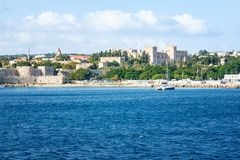 View of Grand Master palace in City of Rhodes Rhodes, Greece royalty free stock image