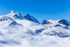 View of the Grand Motte glacier. View ski slopes and the chair lift to the glacier Grand Motte, Tignes, Rhone-Alpes, France Stock Images