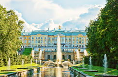 View of the grand palace and cascade in Peterhof Stock Photo