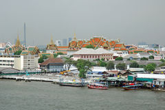View Grand Palace from Chao Phraya River Bangkok Stock Photo