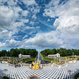 View from Grand Peterhof Palace to Lower park with fountains, go Stock Photography