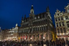 View of the Grand Place at night in Brussels, Belgium Stock Images