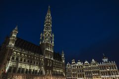 View of the Grand Place at night  in Brussels, Belgium. View of the Grand Place at night in Brussels, Belgium Royalty Free Stock Photos