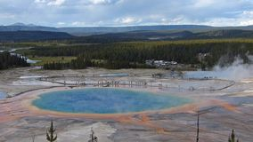 View of Grand Prismatic Spring in Midway geyser basin, Yellowstone National Park, Wyoming stock video footage