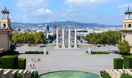 Mount Montjuic. View of Barcelona from the upper steps of the grand staircase of the National Palace. From the observation deck royalty free stock photography